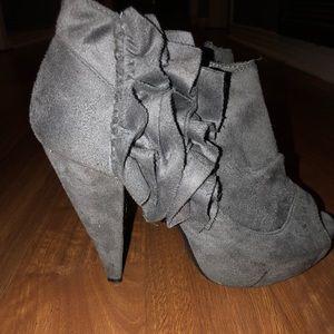 Wild Diva grey ruffled booties